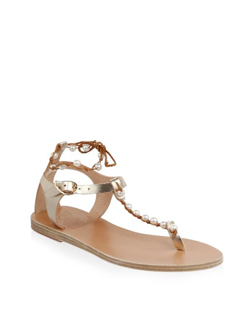 Ancient Greek Sandals - Brown Chrysso Pearls Leather Sandals - Lyst