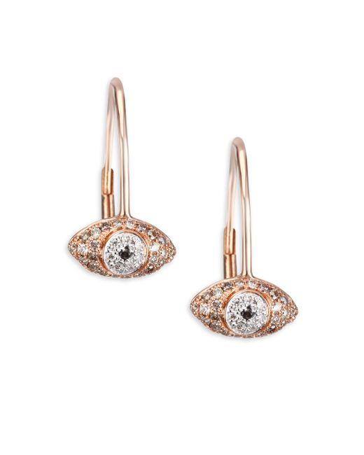 Sydney Evan | Multicolor Multi-tone Diamond Eye Drop Earrings | Lyst