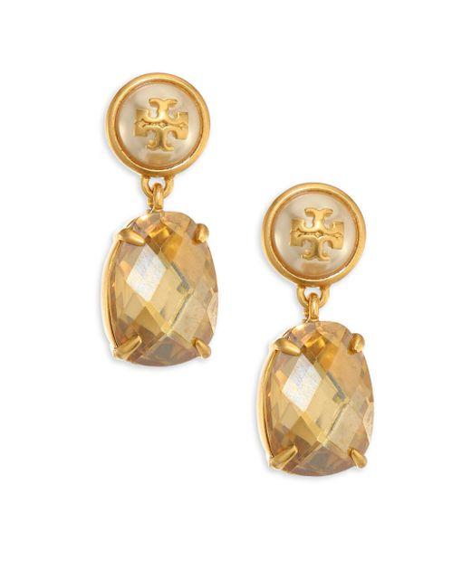 Tory Burch | Metallic Faux-pearl & Crystal Drop Earrings | Lyst