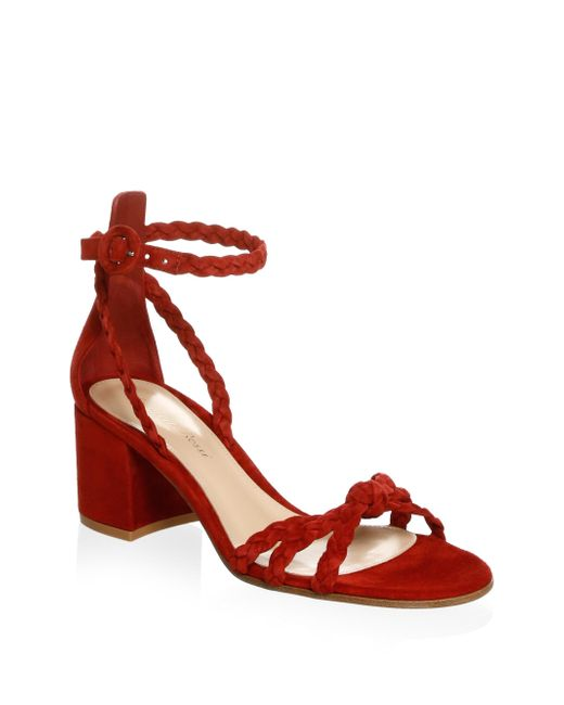 Gianvito Rossi - Red Braided Satin Ankle Strap Sandals - Lyst