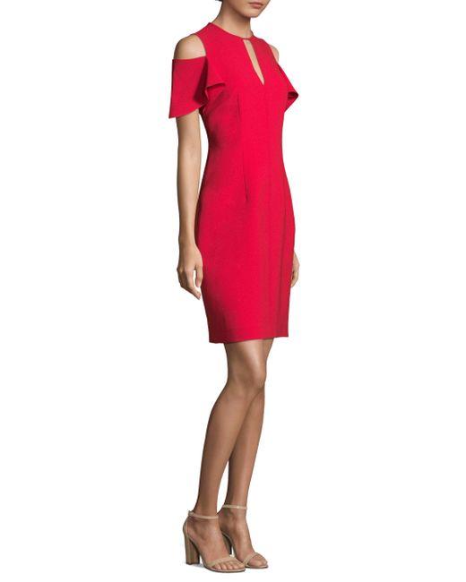 Elie Tahari - Red Cold-shoulder Sheath Dress - Lyst