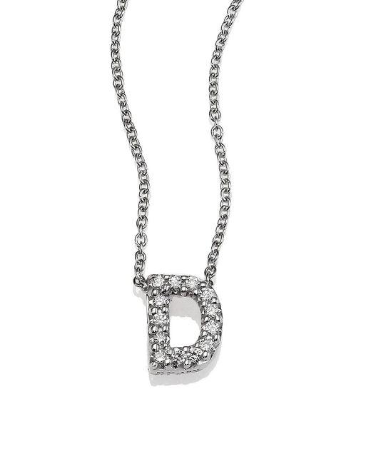 Roberto Coin Tiny Treasures Diamond & 18k White Gold Love Letter Pendant Necklace