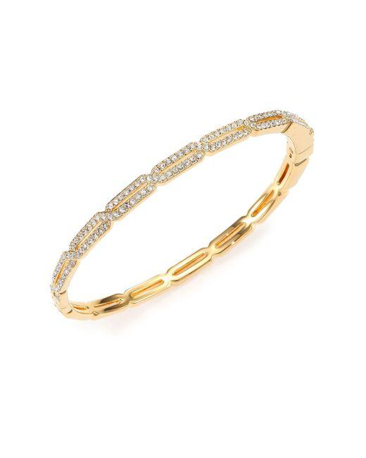 Adriana Orsini Metallic Goldtone Pavé Crystal Long Hexagon Bangle Bracelet