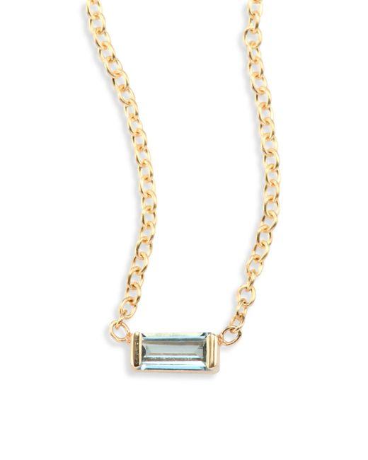 Zoe Chicco - Metallic Aquamarine Baguette & 14k Yellow Gold Necklace - Lyst