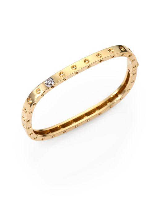 Roberto Coin - Metallic Pois Moi Diamond & 18k Yellow Gold Single-row Bangle Bracelet - Lyst