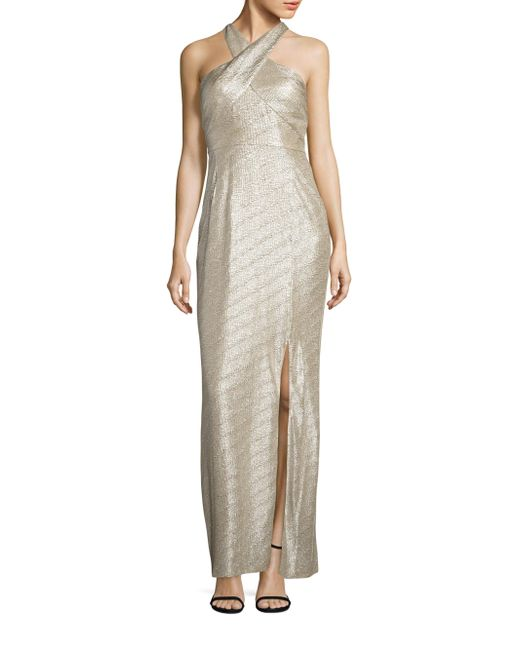 Laundry by Shelli Segal | Metallic Halter Gown | Lyst