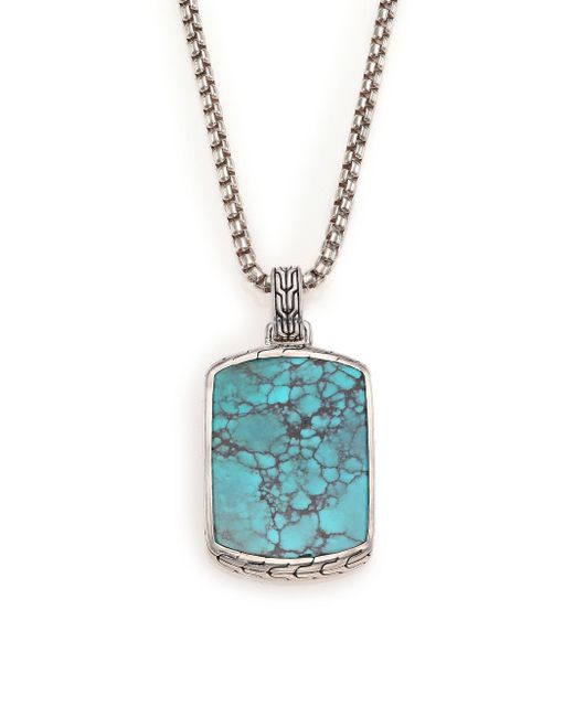 John Hardy | Metallic Batu Classic Chain Turquoise & Sterling Silver Dog Tag Necklace | Lyst