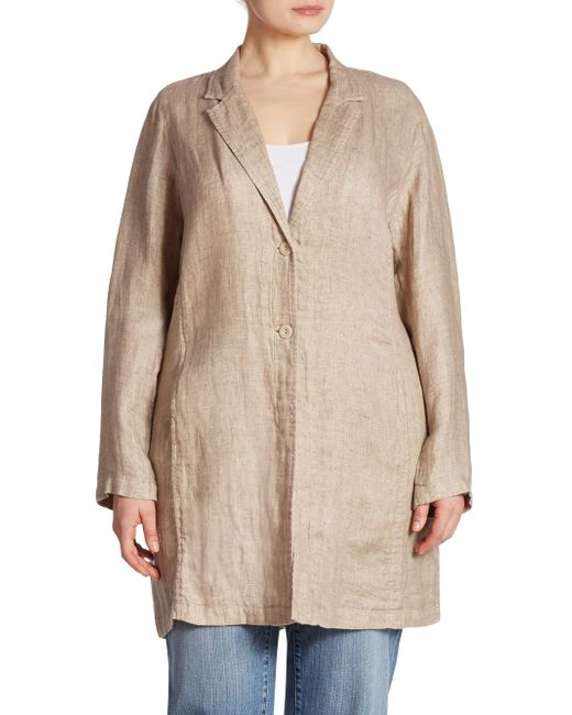 Eileen Fisher | Natural Textured Long Jacket | Lyst