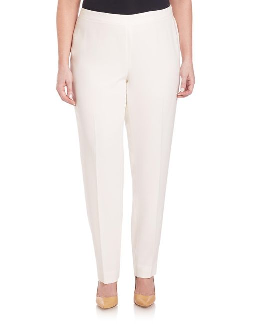 Lafayette 148 New York White Finesse Crepe Bleecker Pants