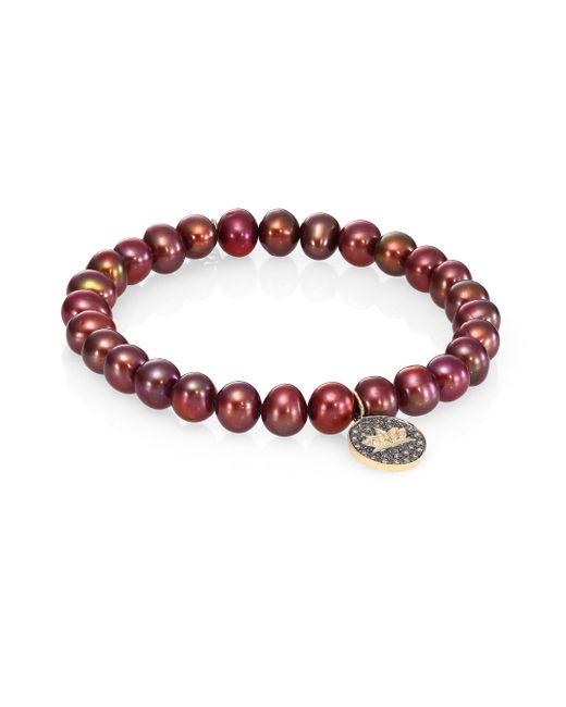 Sydney Evan | Red Lotus Diamond & 6mm Burgundy Potato Pearl Beaded Bracelet | Lyst