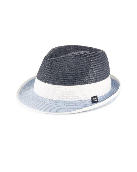 Block Headwear | Blue Colorblock Braided Straw Trilby for Men | Lyst