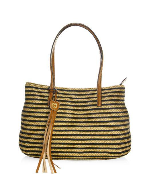 Eric Javits | Black Dame Brooke Woven Straw & Textile Tote | Lyst