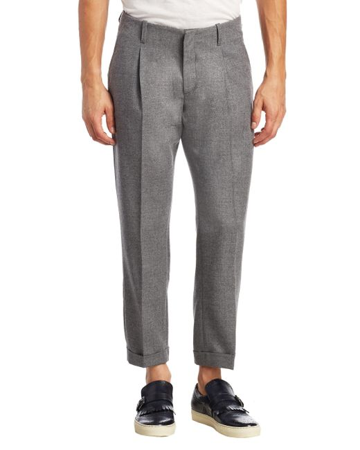 Saks Fifth Avenue | Gray Modern Pleated Cropped Wool Trousers for Men | Lyst