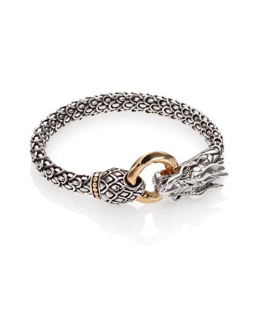 John Hardy Metallic Sterling Silver & 18k Gold Naga Dragon Bracelet