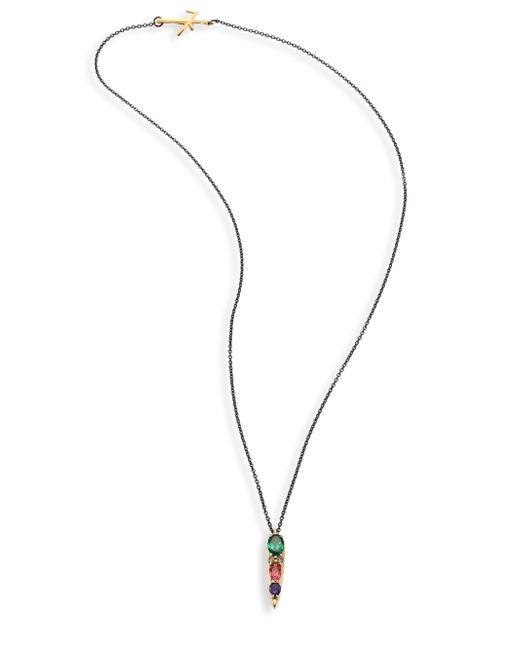 Nikos Koulis | Metallic Spectrum Diamond, Tsavorite, Iolite & Pink Tourmaline Pendant Necklace | Lyst