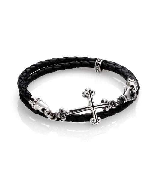 King Baby Studio - Black Cross Double-wrap Leather Bracelet for Men - Lyst