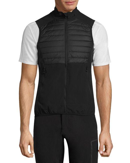 J.Lindeberg | Black Quilted Hybrid Vest for Men | Lyst