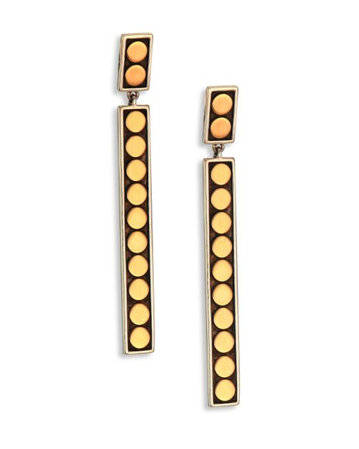 John Hardy | Metallic Dot 18k Yellow Gold & Sterling Silver Linear Drop Earrings | Lyst