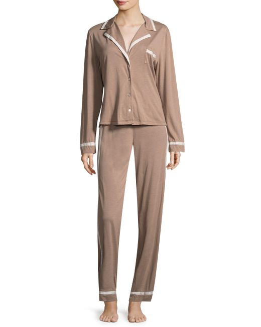 Cosabella - Brown Contrast Trimmed Pajamas Set - Lyst