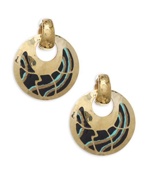 Gas Bijoux - Metallic Shagreen Post Earrings - Yellow Gold - Lyst
