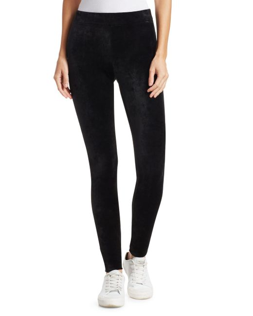 Theory - Black Adbelle Velvet Leggings - Lyst