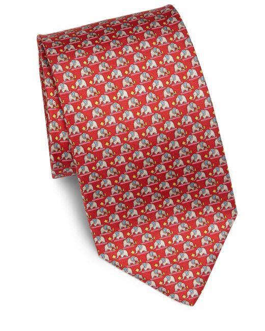 Ferragamo | Red Elephant Print Silk Tie for Men | Lyst