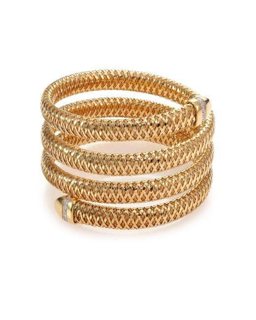 Roberto Coin - Metallic Primavera Diamond & 18k Yellow Gold Four-row Wrap Bracelet - Lyst