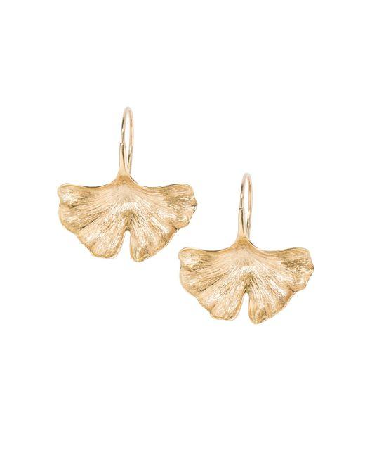 Aurelie Bidermann - Metallic 18k Yellow Gold Ginkgo Leaf Earrings - Lyst
