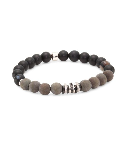 Tateossian - Black Java Frost Onyx, Agate, Silver And Wooden Frosted Beads Bracelet - Lyst