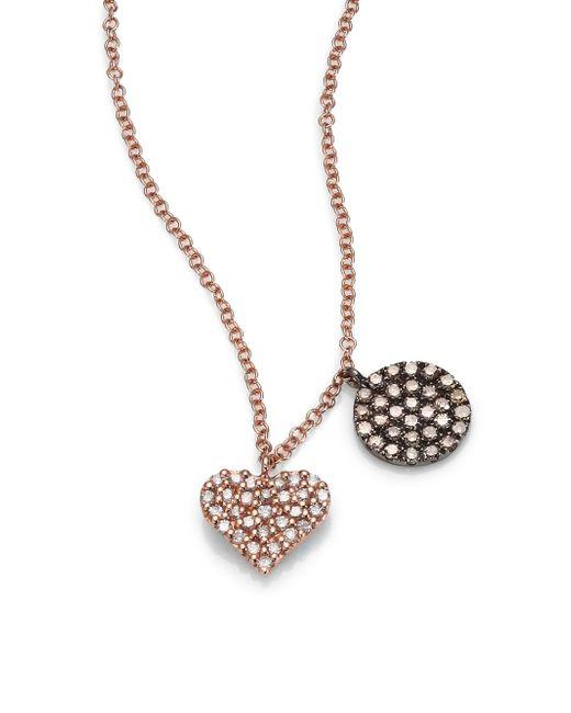 Meira T - Pink Diamond & 14k Rose Gold Heart Pendant Necklace - Lyst