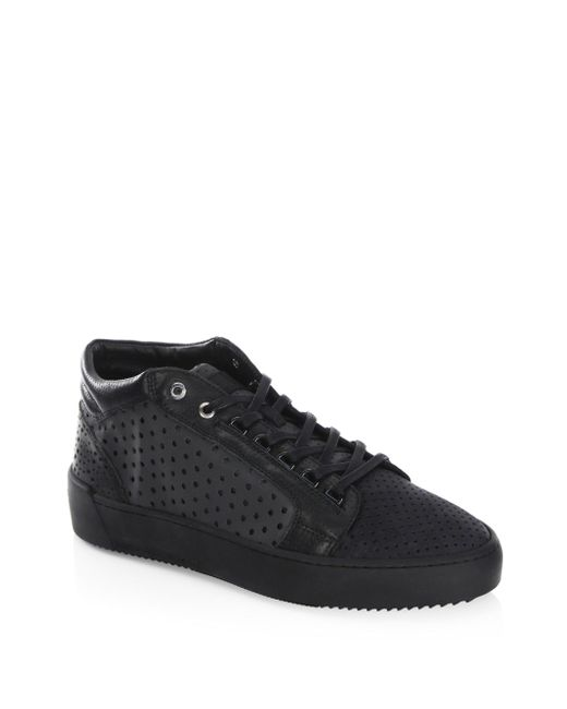 Android Homme | Black Leather Mid-top Sneakers for Men | Lyst