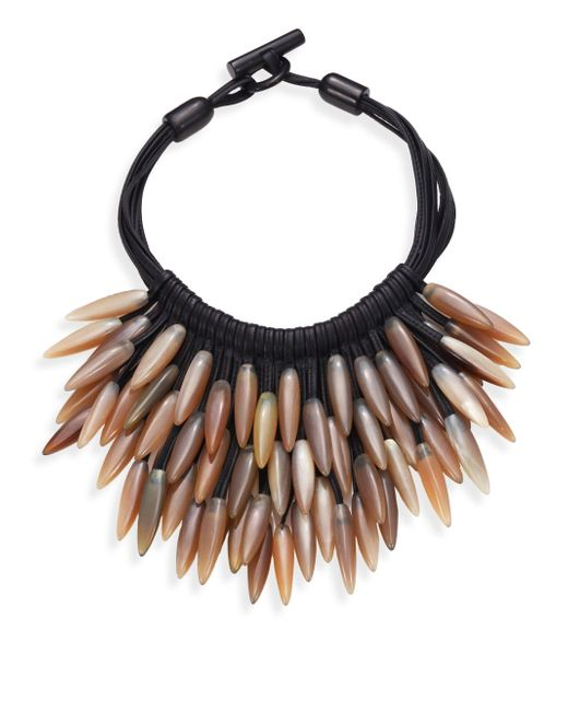 Nest | Black Fringed Leather & Horn Necklace | Lyst
