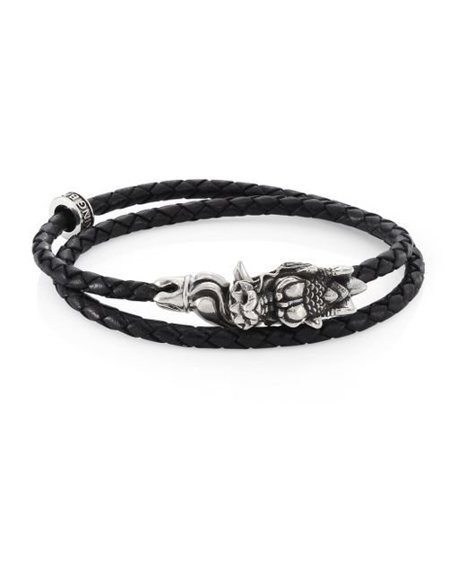 King Baby Studio - Black Sterling Silver & Braided Leather Small Dragon Bite Bracelet - Lyst