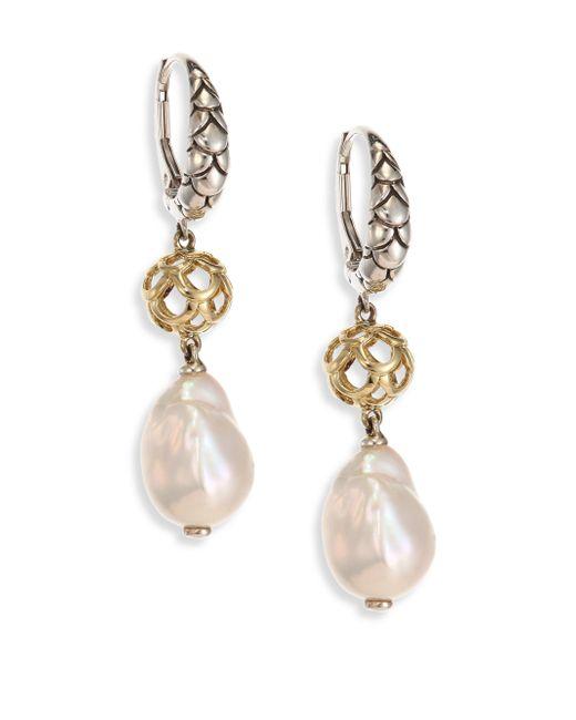 John Hardy | Metallic Legends Naga 11mm White Baroque Pearl, Sterling Silver & 18k Yellow Gold Drop Earrings | Lyst