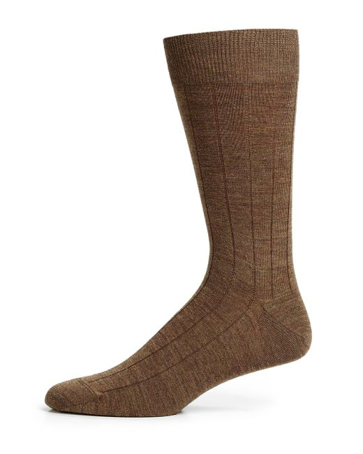 Saks Fifth Avenue - Brown Stretch-wool Dress Socks for Men - Lyst
