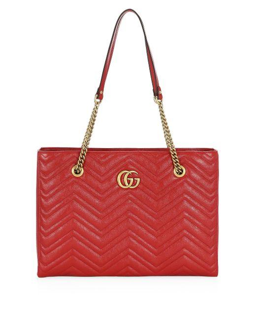 93de9577e395 Gucci Women's Medium GG Marmont Matelassé Tote - White in Red - Lyst