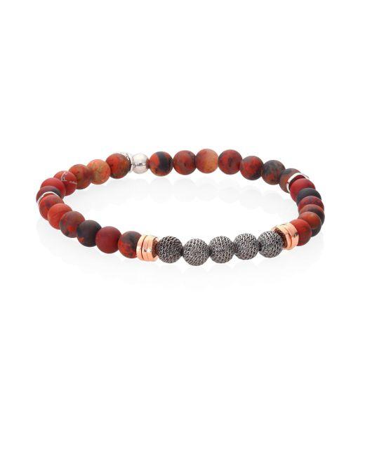 Tateossian | Red Stonehenge Semi-precious Jasper & Rose-goldplated Sterling Silver Bracelet | Lyst