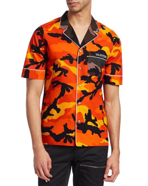 Valentino - Orange Camouflage Cotton Button-down Shirt for Men - Lyst