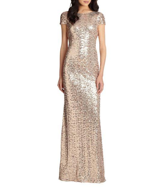 Badgley Mischka - Metallic Sequin Cowl-back Gown - Lyst