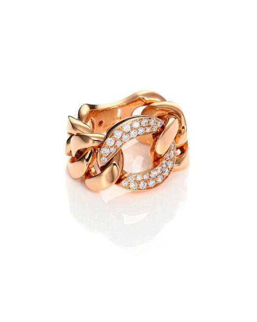 Roberto Coin | Metallic Gourmette Diamond & 18k Rose Gold Chain Ring | Lyst