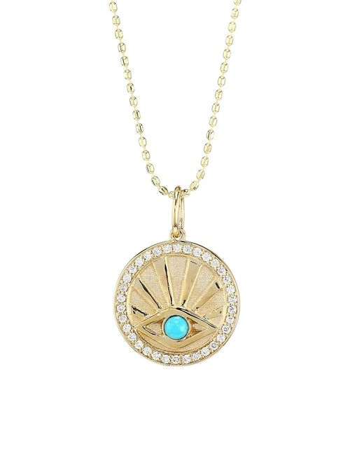 Sydney Evan Metallic 14k Yellow Gold, Diamond & Turquoise Evil Eye Coin Necklace