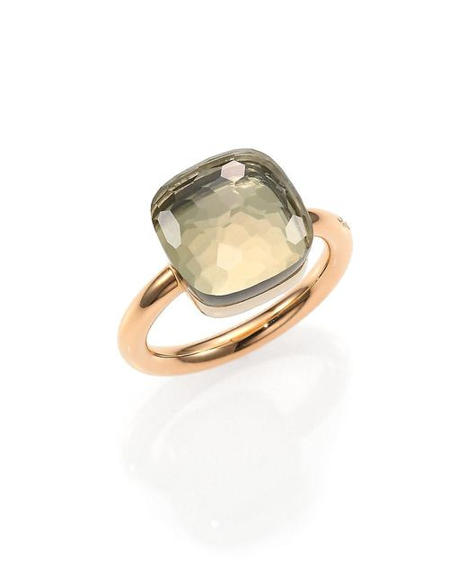 Pomellato Metallic Nudo 18k Rose Gold & Prasiolite Square Ring
