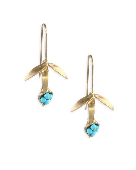 Annette Ferdinandsen - Metallic Emerald & 14k Gold Wildflower Earrings - Lyst