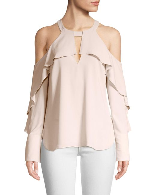 BCBGMAXAZRIA - Pink Long Sleeve Ruffled Cold-shoulder Top - Lyst