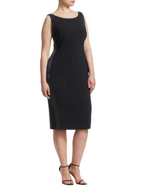 Marina Rinaldi - Black Satin Stripe Sheath Dress - Lyst