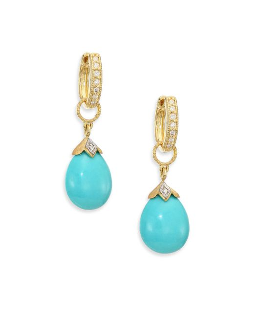 Jude Frances | Metallic Lisse Turquoise, Diamond & 18k Yellow Gold Pear Briolette Earring Charms | Lyst