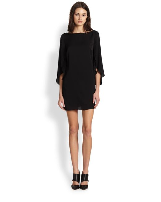 MILLY - Black Stretch Silk Butterfly Sleeve Dress - Lyst