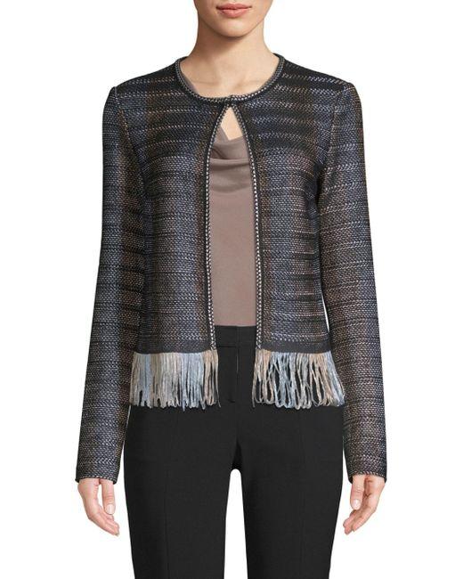 St. John - Black Inlaid Ribbon Knit Fringe-hem Jacket - Lyst
