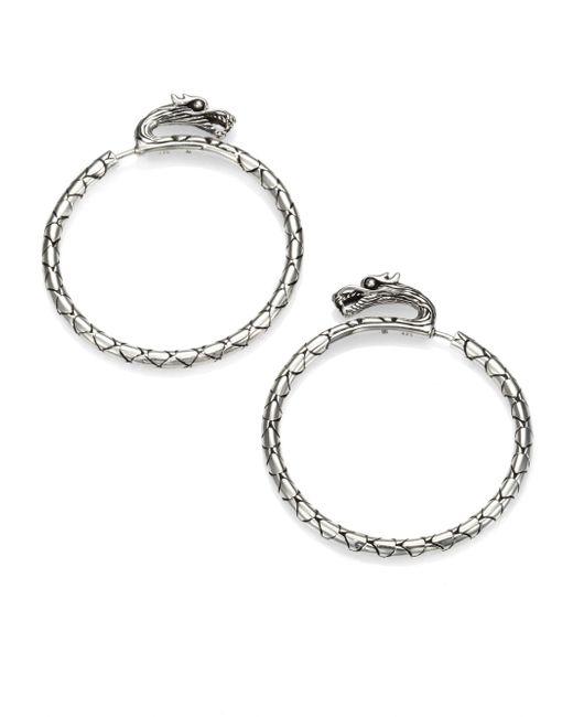 John Hardy - Metallic Naga Sterling Silver Slim Dragon Medium Hoop Earrings/1.5 - Lyst