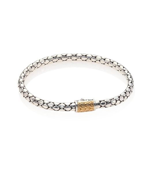 John Hardy - Metallic Dot Sterling Silver & 18k Gold Slim Chain Bracelet - Lyst